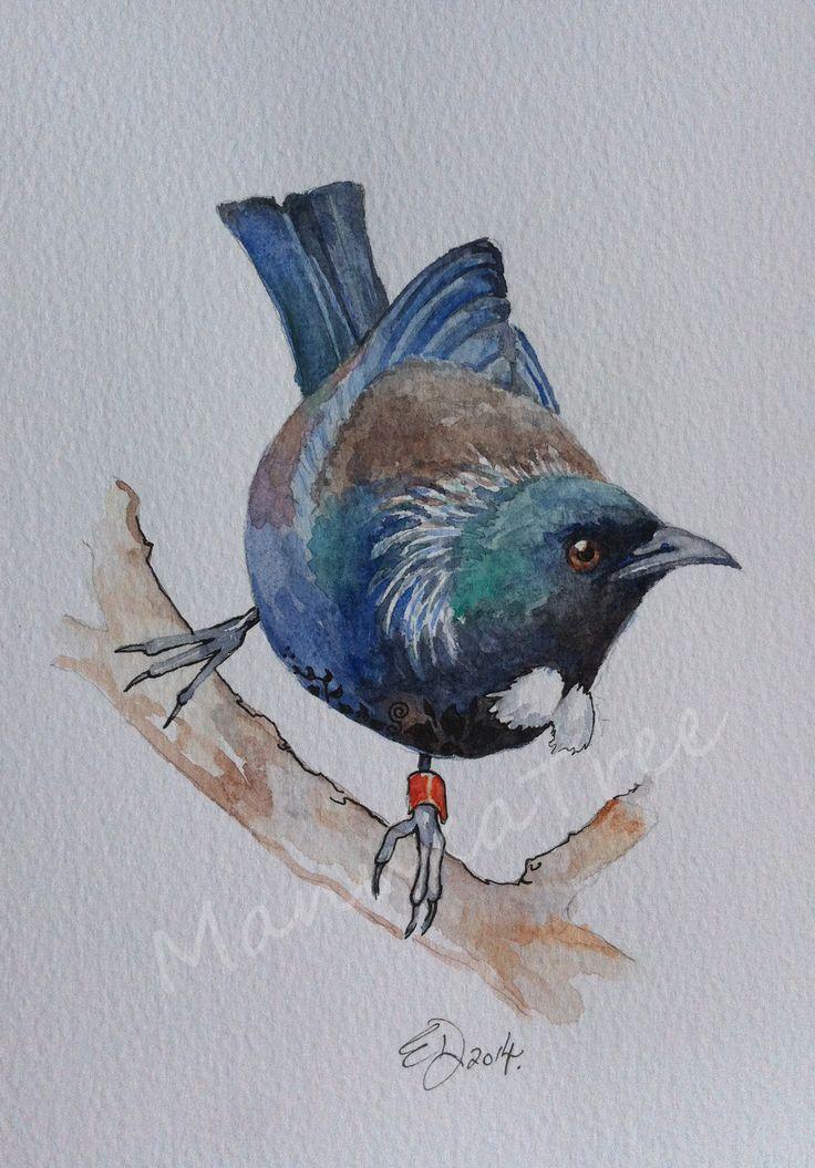 NZ native Tui - FOR SALE:  http://felt.co.nz/listing/226994/Original-watercolour---Elizabeth-Dodd