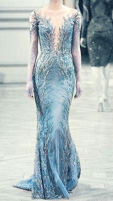 disney fashion dress edit blue aqua turquoise closet crystals haute couture frozen Elie Saab inspired wardrobe gowns elsa embelishments zuhair muhad dollyribbonedit