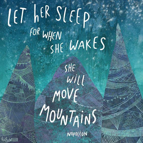 Move Mountains Napoleon quote  square art print by kathywellerart, $18.00