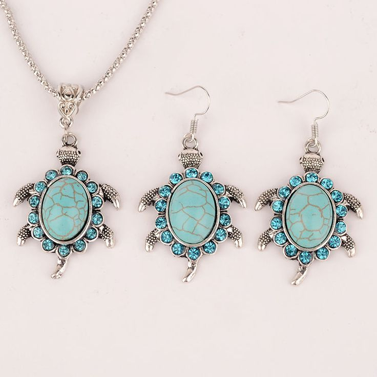New Design Hot vintage turquoise earrings acrylic turtle gem stone necklace sweater chain jewelry sets women animal vintage gift