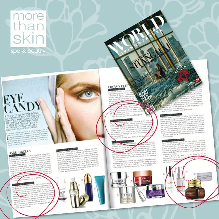 It's all about the eyes in this fantastic feature by Trudi Brewer in the latest issue of WORLD. Some of our favourites are mentioned such as the JB Eye Contour Gel, Decléor's Vital Eyes treatment, and the Dermalift Eye treatment!
