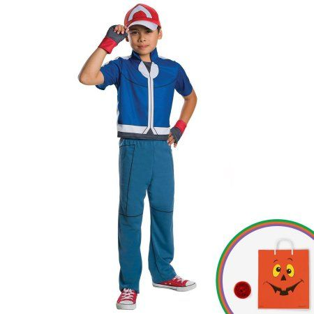Pokemon - Ash Ketchum Child Costume Kit with Free Gift, Boy's, Size: Large, Blue