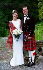 wedding gown with tartan sash - Google Search
