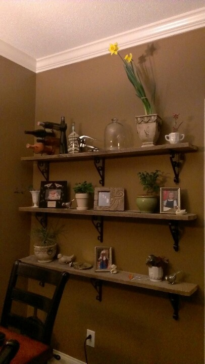 Old fence boards turned into shabby shelving