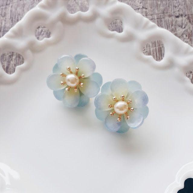 momolico blue camellia earring handmade | momolico 桃子莉可