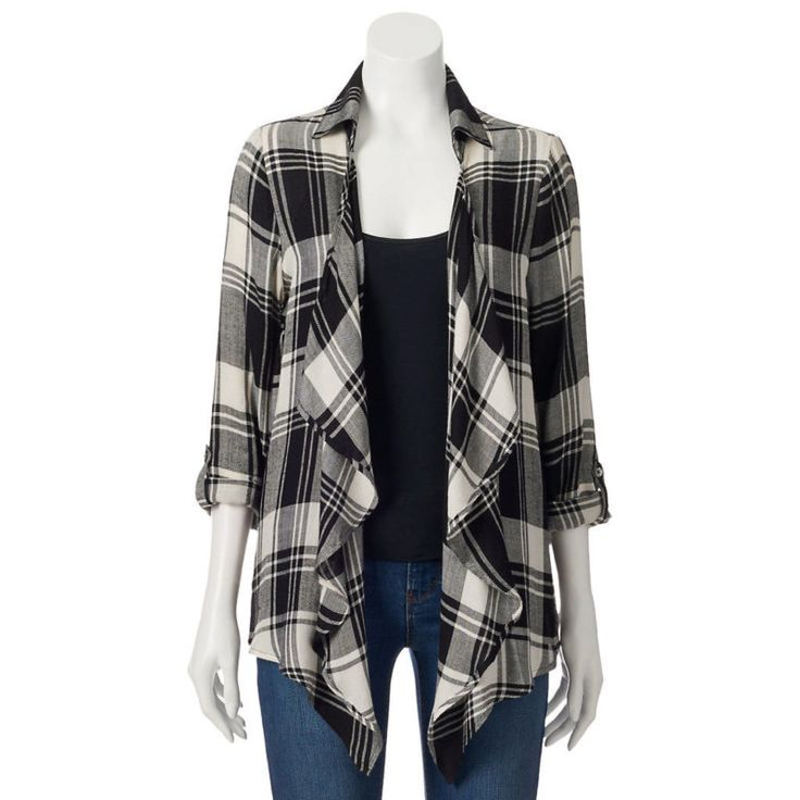 About A Girl Plaid Open-Front Cardigan - Juniors | @giftryapp