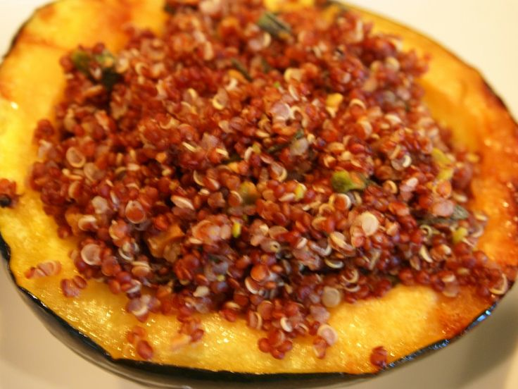 Acorn squash with red quinoa, pistachio sage stuffing. Or use chopped ...