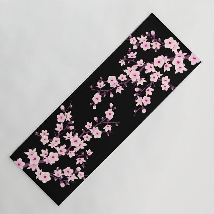Cherry Blossoms Yoga Mat Blackpink Cherryblossom Sakura Black Pink Yogamats Asian Japanese Flowers Floral Cherry Blossom Blossom Yoga Mat