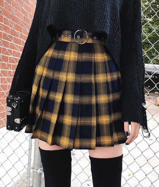High Waist Gold & Black Plaid Mini Skirt