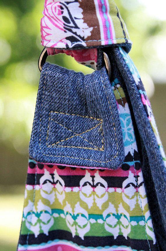 Denim Upcycled / gerecycled portemonnee met verborgen zak