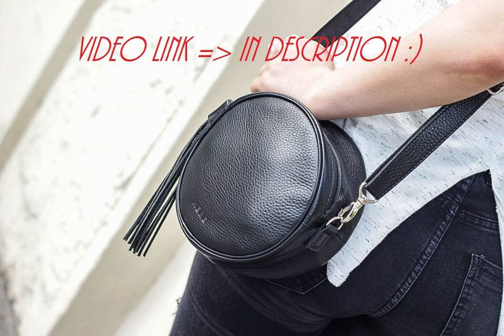 Black leather shoulder bag, bag round, handmade bags, gifts for women, leather bags, tassel bag, whistles bags, monogrammed bags, small bags by MereLeather on Etsy