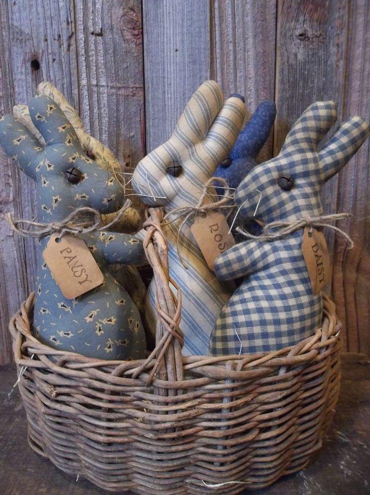 Gathering of Primitive Handmade Bunny Bowl Fillers/Ornaments - Spring/Easter #NaivePrimitive