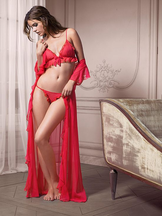 in red lingerie