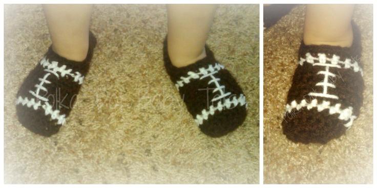 Crochet football slippers