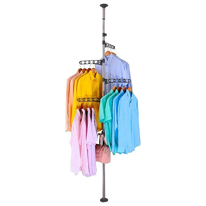 Baoyouni 4 Layer Floor To Ceiling Adjustable Corner Coat Hanger Pole For 20 Clothes Tension Clothes Drying Rack Clothes Drying Racks Clothing Rack Coat Hanger