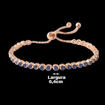 Pulseira de Prata com Safira Oriental e Banho de Ouro Rose - 31146.