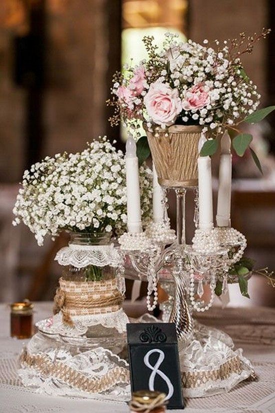 Lace, burlap, and craft pearl wedding centerpiece / http://www.deerpearlflowers.com/rustic-barn-wedding-ideas/2/