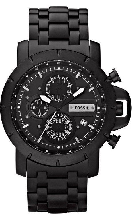 Fossil Jake JR1266 Plated Stainless Steel Watch - Black < $115.00 > Fossil Watch Men