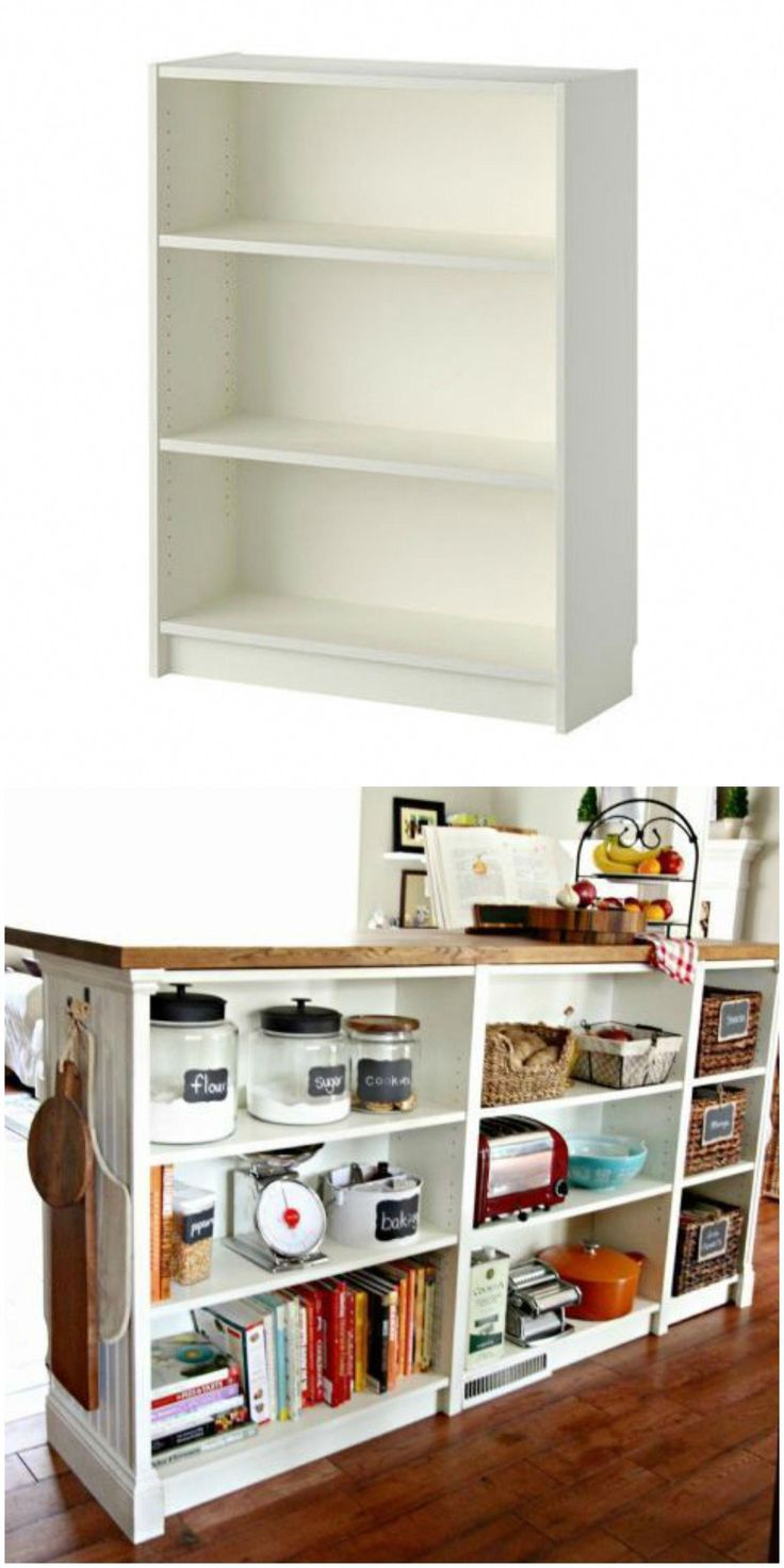 Turn You Short Billy Bookcase Into A Double Duty Kitchen Island Using This Ikea Hack Diy Mobel Ideen Ikea Diy Zuhause Diy
