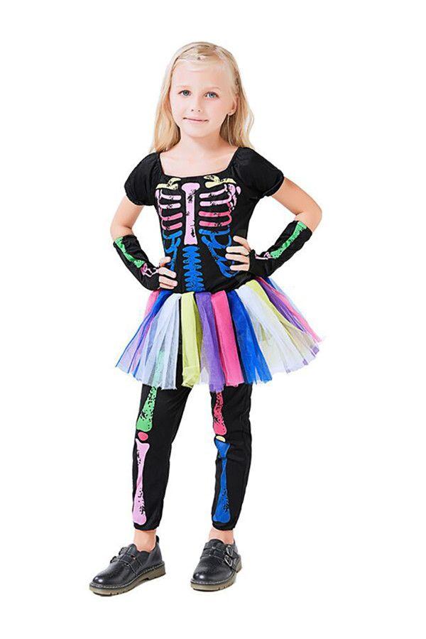 Girl/'s Neon Skeleton Costume