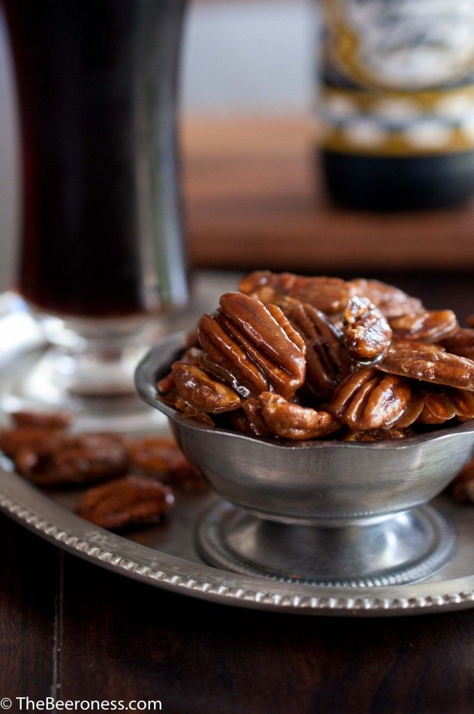 Beer Candied Pecans! These pecans look absolutely incredible! Simple recipe, 5 ingredients and you have a unique treat! Brown sugar, pecans and beer....yes please!