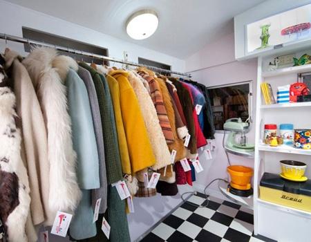 Cool little space- vintage shop in a converted franklin caravan. Love those vintage coats too...