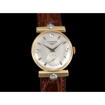 1955 Vintage Longines 14k Gold and Diamond Mens Watch ...