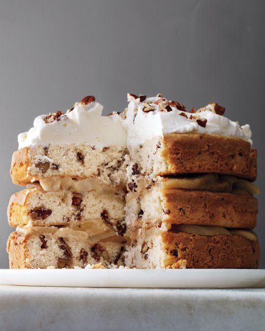 Three-Tier Candied-Pecan Cake with Brown-Butter Pears Recipe