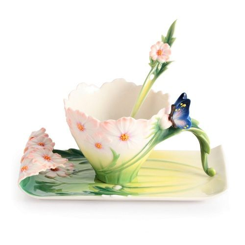 Franz Cup Saucer - Cosmos and Butterfly Cup, Saucer and Spoon Set by the #Franz Collection