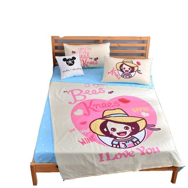 3/4pcs 100 cotton cartoon bedding set twin single size girls duvet cover blue bed sheets pillowcase,student home soft bed linens