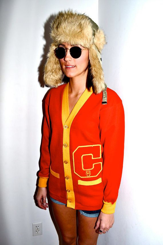 COLLEGIATE IVY LEAGUE 1960s Red and Yellow 6 Button by louise49, $175.00