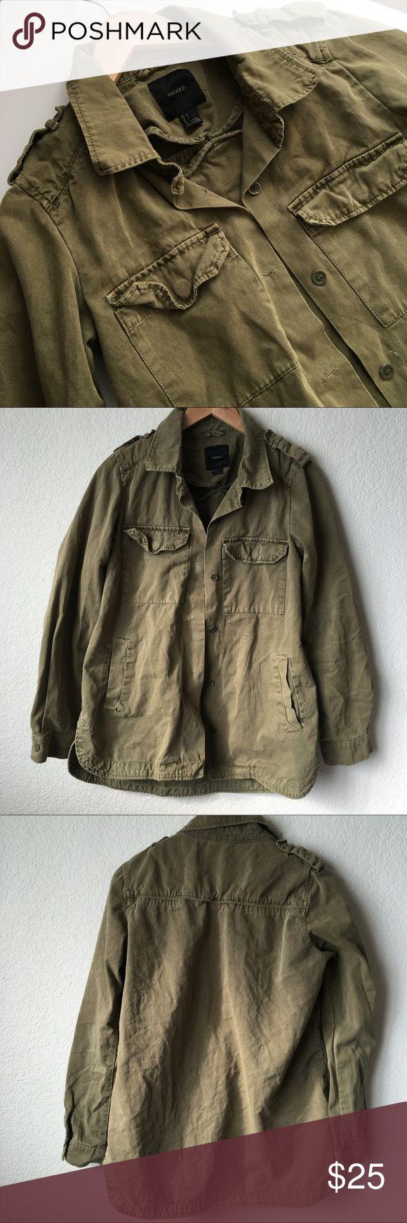Military Style Shirt Jacket Olive Military Style jacket. Shirt tail hem and pockets. Good condition. Forever 21 Jackets & Coats