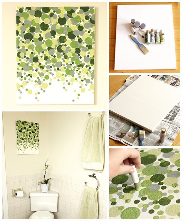 DIY Wall Art Ideas and Do It Yourself Wall Decor for Living Room, Bedroom, Bathroom, Teen Rooms |   Easy DIY Shades of Geen Circles Wall Art  | Cheap Ideas for Those On A Budget. Paint Awesome Hanging Pictures With These Easy Step By Step Tutorials and Projects  |  http://diyjoy.com/diy-wall-art-decor-ideas