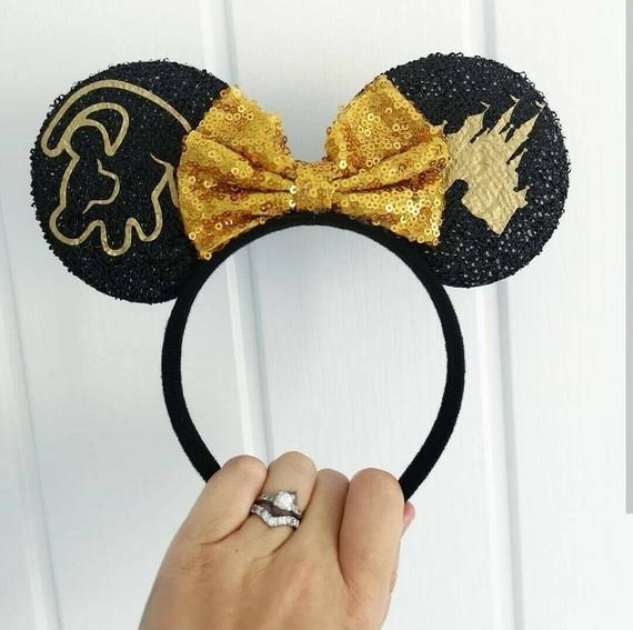 Personalised Name Disney MINNIE MOUSE Lion King Simba Castle Ears Headband Bow