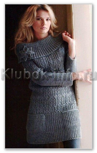 Вязание спицами. Однотонное мини-платье с широким воротником, с длинными рукавами-реглан, и прорезными карманами. Размеры: 34/36 (38/40)