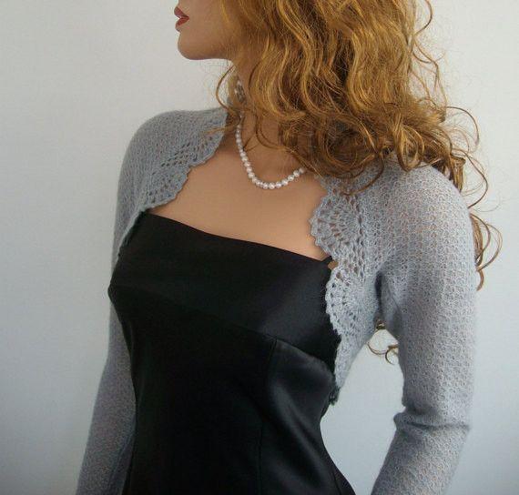 Knitted Wedding Bridal Grey Mohair Shrug Bolero from Marta Crafts by DaWanda.com