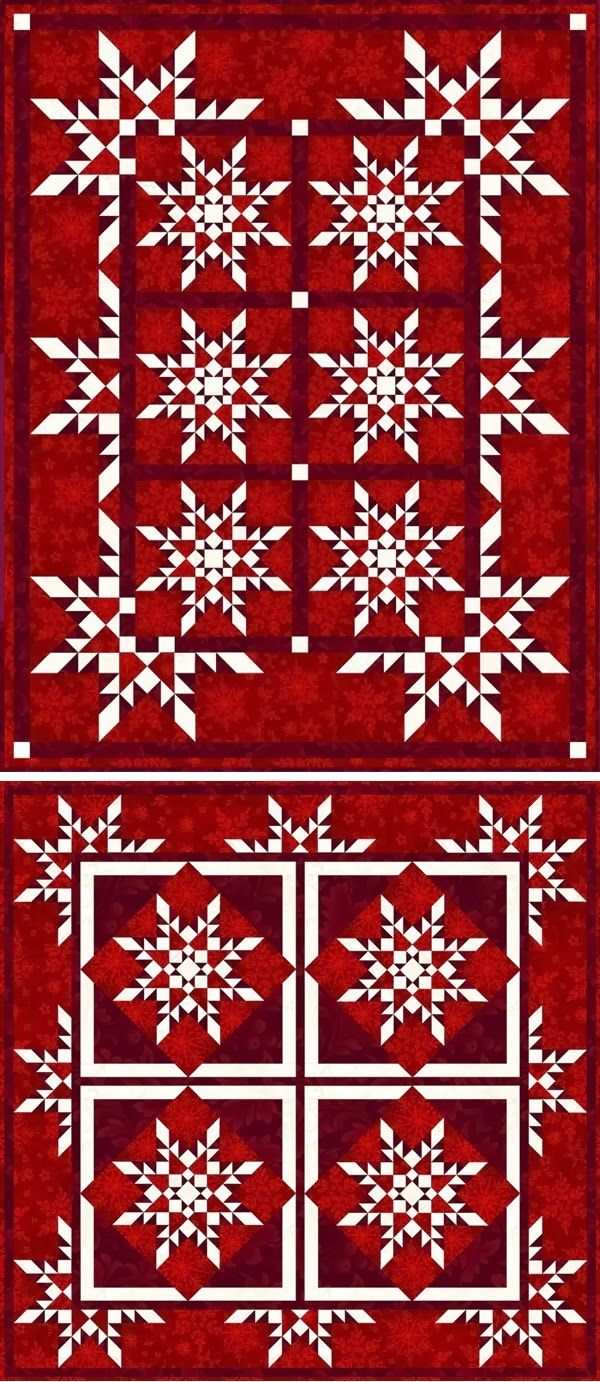 """""""Star Flakes"""" (two quilts) by Linda Guedel"""