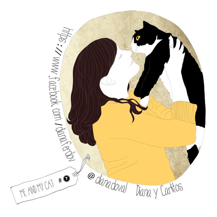 illustration project, me & my cat memories.warehouse.shop@gmail.com http://www.etsy.com/shop/memorieswarehouse