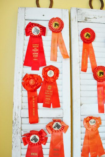 Love this idea of displaying award ribbons on shutters from Richmond Homearama 2012