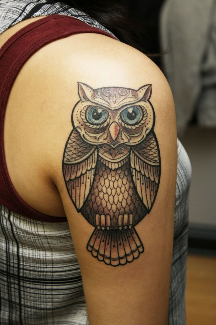 Airplane tattoo designs bodysstyle - Blue Eyes And Colors Owl Tattoo Design
