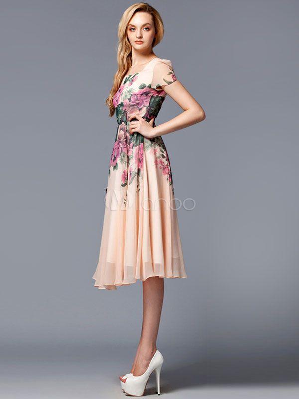 レトロ ワンピース ヴィンテージ ピンク 女性用 シフォン 半袖 プリント柄 プリーツ スクープネック