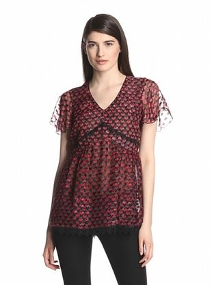 70% OFF Anna Sui Women's Ombre Hearts Print Top (True Red Multi)