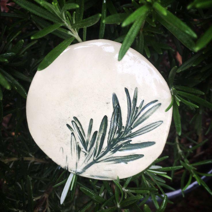 Fridge Magnet. Ceramic Magnet. Rosemary Magnet. Stoneware Magnet. Gift for Cook. Herb Garden. Gardene's Gift. Herb Magnet. Earthenware Clay by FaeGartenClay on Etsy