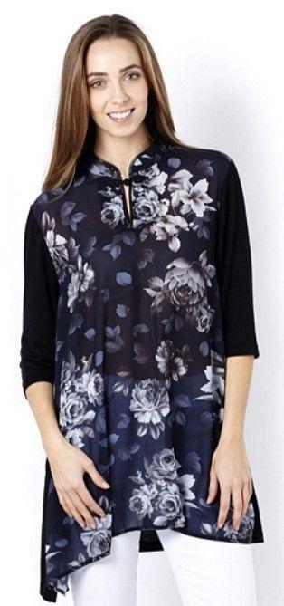 Butler & Wilson Dark Flowers Front Mandarin Neck Chiffon Top, L, Black, NEW #ButlerWilson #TunicKaftan #Casual