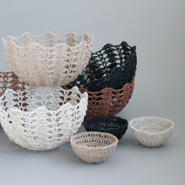 Crochet bowl. Beautiful vintage hardened resin crochet bowls. These can be diplayed on a bookshelf, used to serve bread rolls, or store jewellery, coins and keys. Comes in copper shimmer, black, chalky white and dusty rose gold. | The Woven Trail
