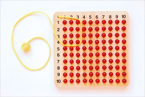 I love this DIY alternative to the #montessori multiplication board. The cord is wrapped around the beads to denote which you count.