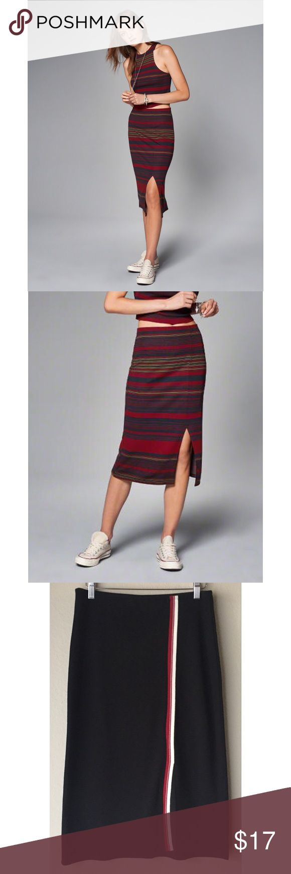 Abercrombie & Fitch Midi Skirt Knit Midi Skirt with slit. Red/white stripe. 86% Viscose, 11% Polyester, 3% Elastane. First 2 pictures are the same Skirt in a different color. New. Abercrombie & Fitch Skirts Midi