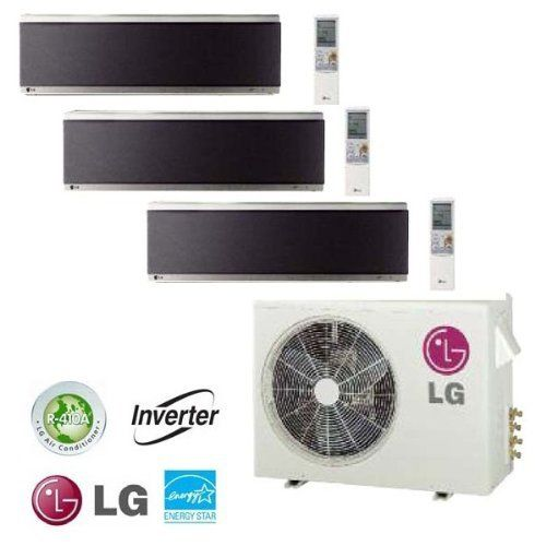 lg ductless minisplit tri zone wall mounted mirror finish heating and cooling system inverter technology 168 seer