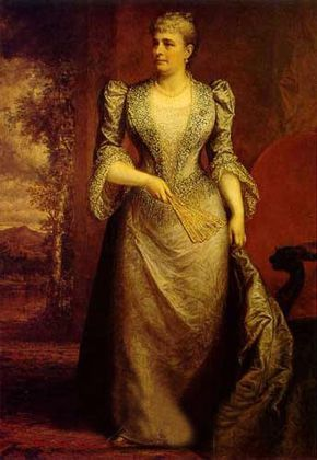Caroline Lavinia Scott Harrison (1832-1892), wife of Benjamin Harrison, was first lady of the United States from 1889 until her death.  She was active in preserving historical White House furniture, sliver, glass, and china.