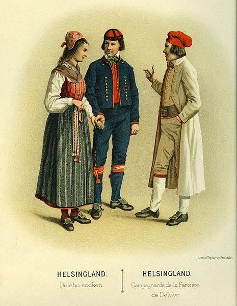 Folkdräkt från Delsbo socken, Hälsingland, Sverige.  Date1895  SourceThulstrup  Kramer, Afbildningar af Nordiska Drägter (1895)